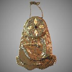 Vintage Mesh Dance Purse Compact Ornate Jewelled Filigree 1920s Deco Flapper Bag
