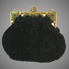 Vintage Jewelled Frame Purse Bag Handbag Ornate Filigree Green Stones Handbag