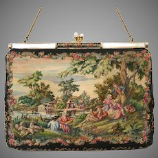 Vintage Petit Point Purse Scenic Figural Bag Handbag Saks Fifth Avenue