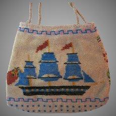 Antique Vintage Beaded Purse Ship 19th Century Handles Tall Ship Handbag Bag