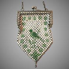 "Vintage Child""s Mesh Purse Green Bird Doll's Bag Handbag"