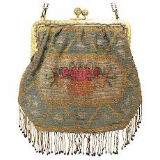 Antique Vintage Micro Metal Beaded Purse Bag Handbag