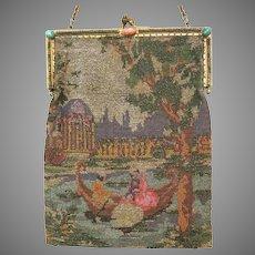Vintage Metal Micro Beaded Purse Scenic Figural Bag Handbag