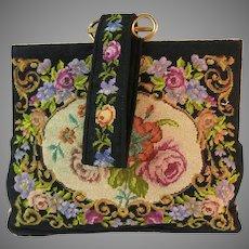 Vintage Petit Point Purse Floral Bag Handbag Clutch