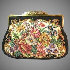 Vintage Petit Point Purse Floral Bag Handbag Clutch Austria Circa 1950s