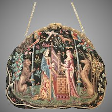 Vintage Antique Petit Point Purse Medieval Scene Lady & the  Unicorn Bag Handbag