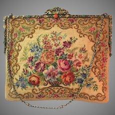 Vintage Petit Point Purse Floral Bag Jewelled Handbag Clutch Circa 1950s
