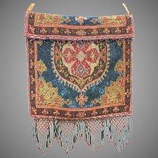 Antique Steel Beaded Purse Bright Lovely Colours Bag Handbag France