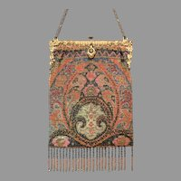 Outstanding Antique Metal Beaded Purse Geometric Vintage Bag Handbag