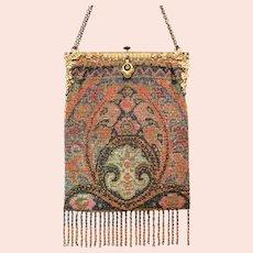 Outstanding Antique Metal Beaded Purse Geometric Vintage Bag Handbag