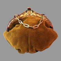 Vintage Celluloid Purse Frame Handbag Scenic Figural Mount Bag Deco Flapper 1920
