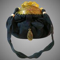 Vintage Celluloid Purse Frame Jewelled Red Stones Art Deco Flapper Bag Handbag