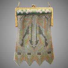 Vintage Art Deco Mesh Purse Whiting Davis Enamelled Frame Flapper c 1920s Bag