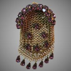 Vintage Art Deco Mesh Purse France Jewelled Pin Brooch
