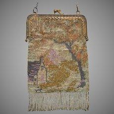 Vintage Scenic Metal Beaded Purse Bag Handbag