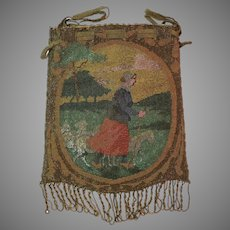 Vintage / Antique Scenic Micro Beaded Reticule Metal Beads Purse Bag Handbag
