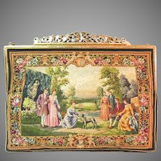Vintage Petit Point Purse Scenic Figural with 2 Scenes by Jolles Austria
