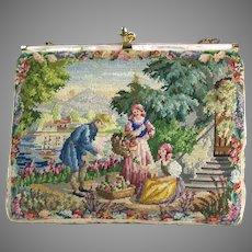 Vintage Petit Point Purse Scenic Figural Bag Handbag Flower Girl