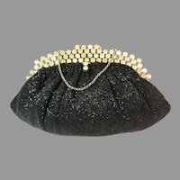 Vintage Beaded Purse Clutch with Jewelled Frame by Saks Fifth Avenue Bag Handbag