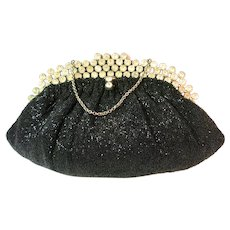Vintage Beaded Purse Clutch with Jewelled Frame by Saks Fifth Avenue Bag Handbag
