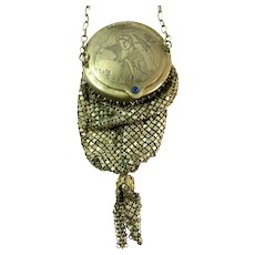 Vintage Mesh Purse Engraved with Asian Geisha Oriental Japanese Mandalian Bag Handbag
