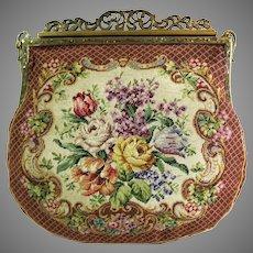 Vintage Petit Point Purse Floral Bag Handbag