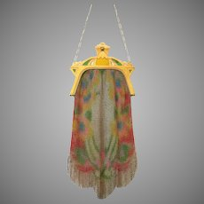 Gorgeous Vintage Whiting Davis Dresden Mesh Purse Bag Handbag