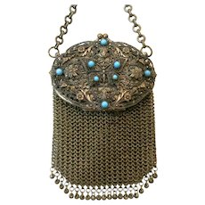 Vintage Antique Butterfly Mesh Purse Turquoise Ornate Bag Chatelaine