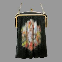 Vintage Whiting Davis Dresden Mesh Purse Scenic Deco Flapper Handbag circa 1920s