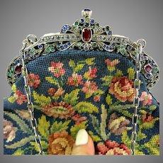 Vintage Purse with Jewelled Frame Petit Point Bag Handbag
