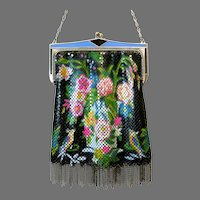 Vintage Whiting Davis Mesh Purse Tropical Scenic Birds Flapper Handbag 1920a
