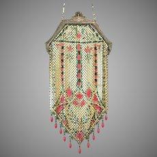 Vintage Mesh Purse Mandalian Flapper Bag Handbag Pink 11 Drops