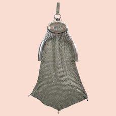Vintage Dresden Mesh Purse Alpacca Compact Dance Purse Flapper Bag Handbag 1920s