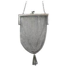 Vintage Sterling Silver Mesh Purse Whiting & Davis circa 1920s Flapper Bag
