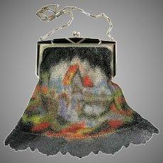 Vintage Whiting Davis Mesh Purse Bag Handbag Village Scenic Flapper Handbag Bag