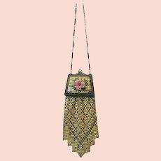 Vintage Whiting Davis Mesh Purse with Compact Flapper Handbag Bag circa 1920s