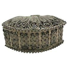 Vintage 800 Silver Pill Box Ornate Filigree Lovely & Delicate
