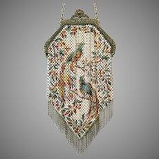 Vintage Mandalian Mesh Purse Birds of Paradise Flapper Bag Deco Handbag ca 1920's