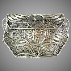 Vintage Silver Tone Metal Ornate Filigree Purse Bag Handbag 5 by 3.5 Inches