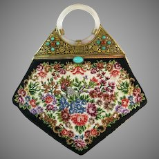 Vintage Petit Point Purse with Jade Accents Floral China