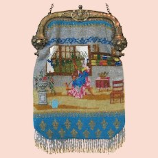 Antique Beaded Purse Scenic Figural Bag Handbag Wonderful Rare Image