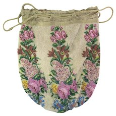 Antique Beaded Purse Floral Reticule Handbag Victorian Bag