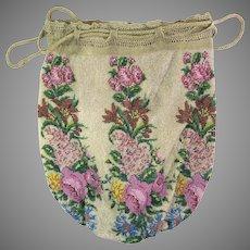 Antique Beaded Purse Floral Reticule Handbag Victorian Bag