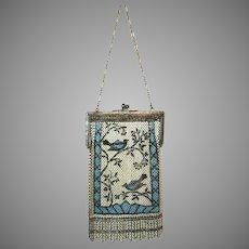 Vintage Mandalian Mesh Purse Scenic Birds Flapper Bag Handbag circa 1920s