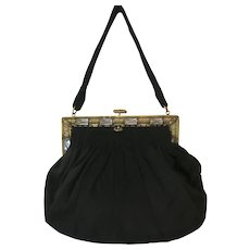 Vintage Purse Jeweled Frame Black Velvet Bag Handbag