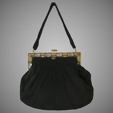 Vintage Purse Jeweled Frame Black Velvet Bag Handbag
