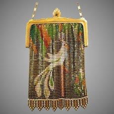Vintage Scenic Whiting Davis Mesh Purse Parrot Cockatoo Bag Handbag circa 1920s