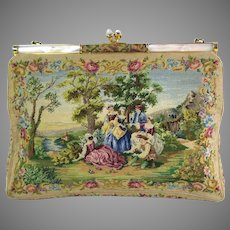 Vintage Petit Point Purse Scenic Romantic Bag Handbag Mother of Pearl Frame