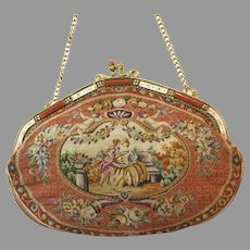 Vintage Petit Point Purse Scenic 2 Sided Bag Handbag Lovely Jewelled Frame