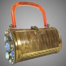 Vintage Jewelled Lucite & Metal Purse Clutch Dorset Rex 5th Ave Bag Handbag